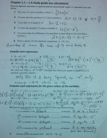 Algebra: Quiz study guide answers - Mathematics with Mr. Lloyd
